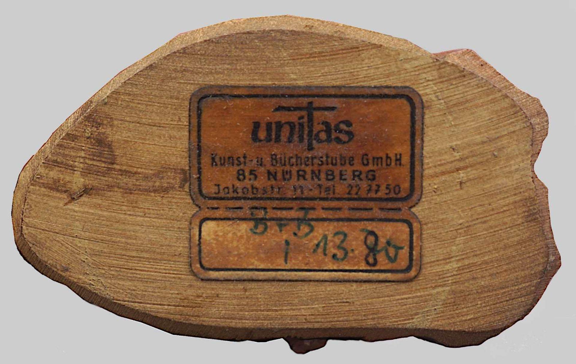 1 Krippe mit Figuren Holz, 20. Jh. z.T. gemarkt UNITAS farbig gefasst, Krippe H ca. 4 - Bild 6 aus 6