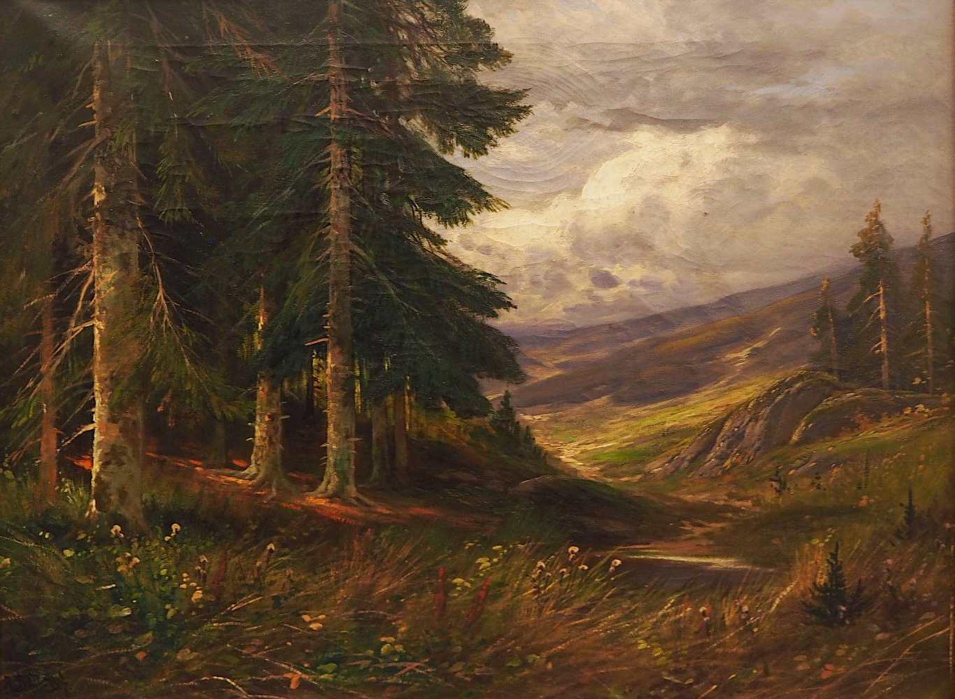 """1 Ölgemälde """"Ausblick auf eine wolkenverhangene Landschaft"""" L.u. sign. A. BELL (wohl"""