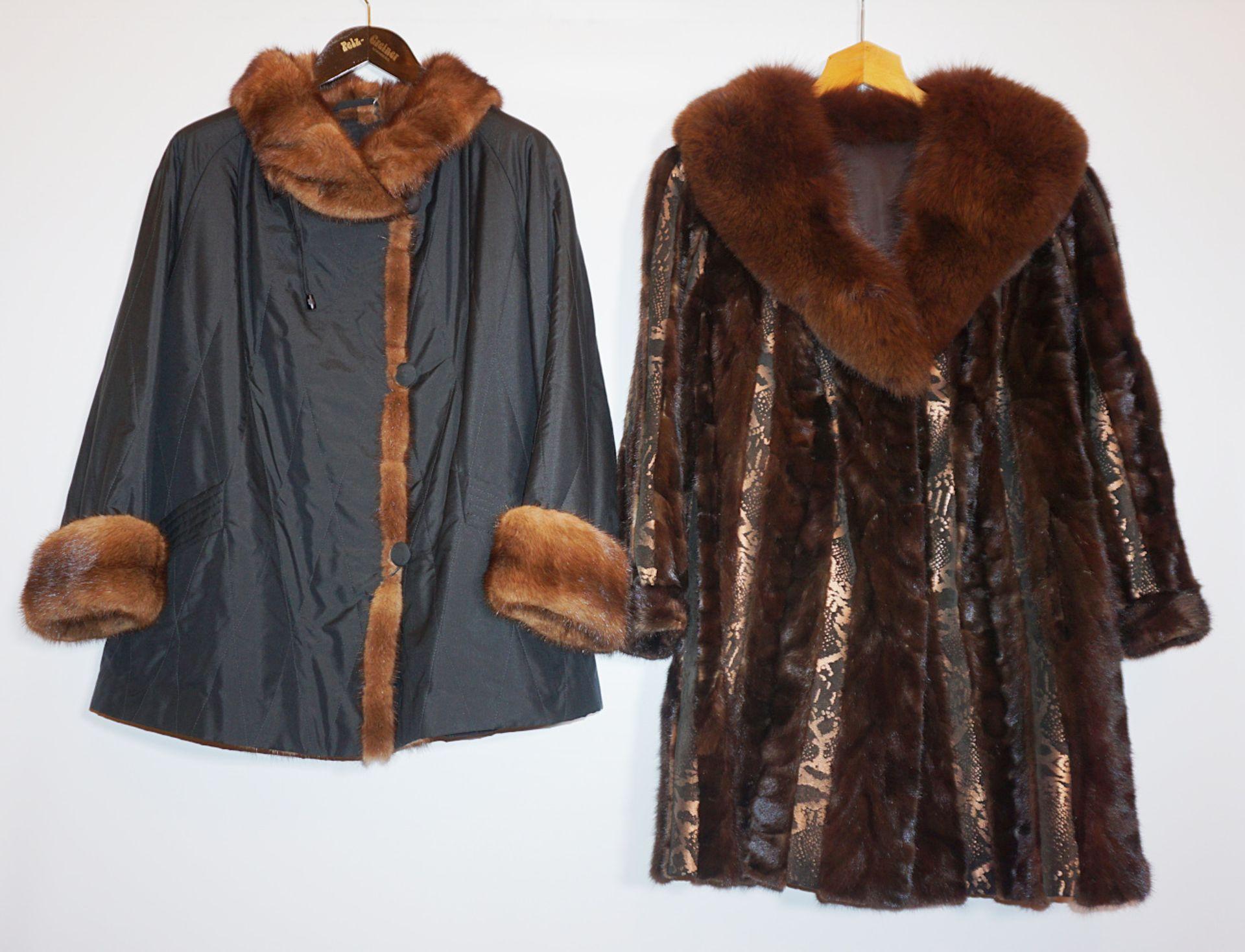 1 Jacke Textil m. Nerz RAAB & METZ sowie 1 Kurzmantel Nerz Mosaik/Leder Fuchskragen sowie Pelzzu