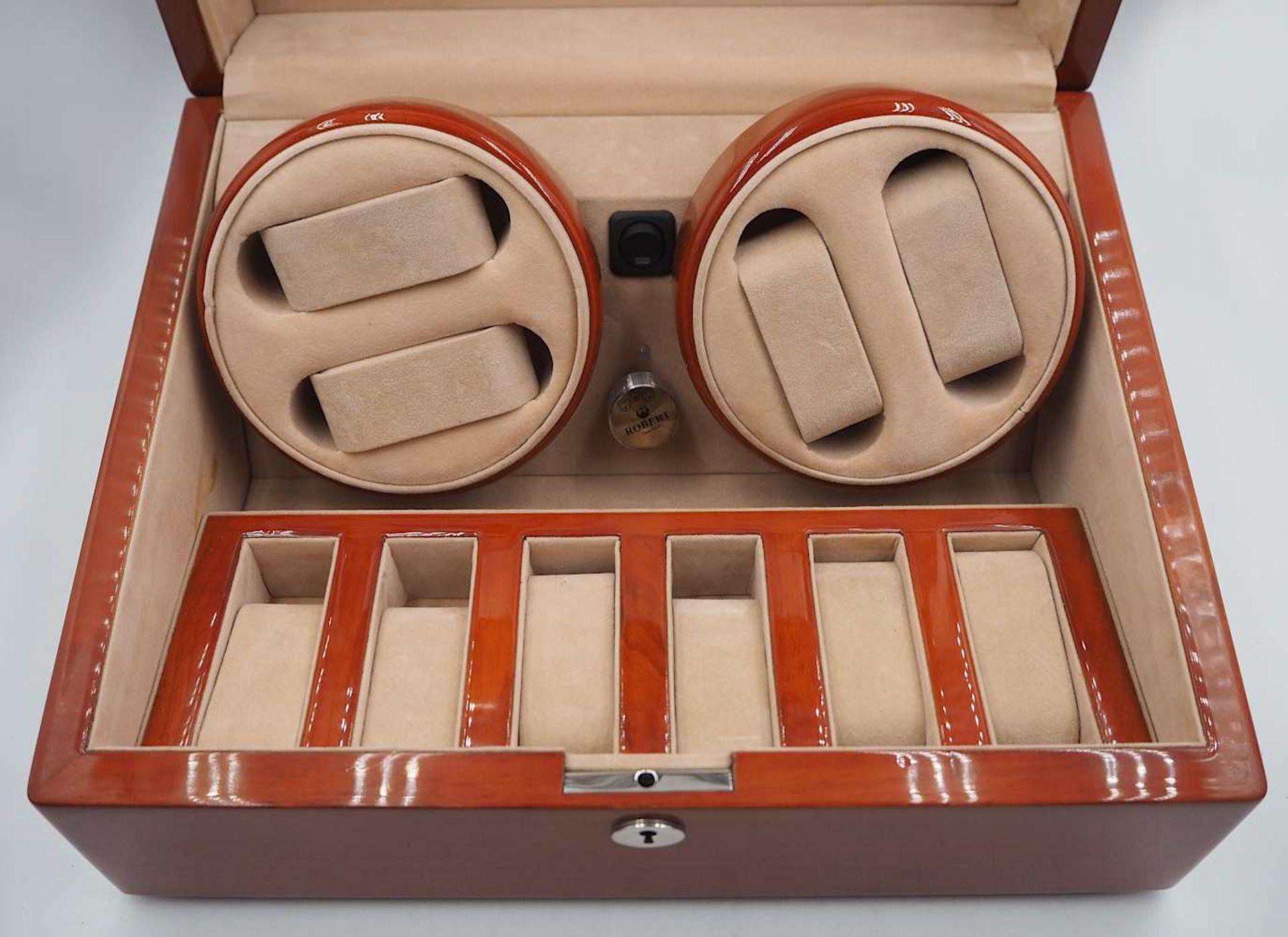 """1 Uhrenbeweger ROBERT Modell: """"WA058"""", Holz mit Glaseinsatz 4 Dreh- und 6 Aufbewahrung - Bild 2 aus 3"""