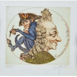 "1 Farbradierung R.u. bleistiftsign. M. M. PRECHTL (wohl Michael Mathias P. 1926-2003), ""Voltaire"
