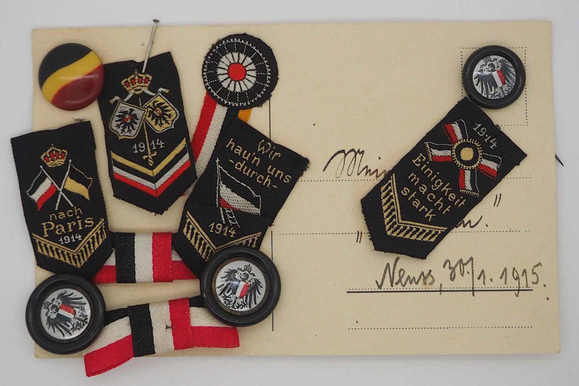 """1 kleines Konv. Anstecknadeln/Aufnäher 1. WK """"1914-Einigkeit macht stark""""; """"Wir hau'n"""