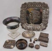 1 Konvolut Dekorationsobjekte Silber 800/830 u.a./ versilbert, u.a., Zierschalen, Ziga