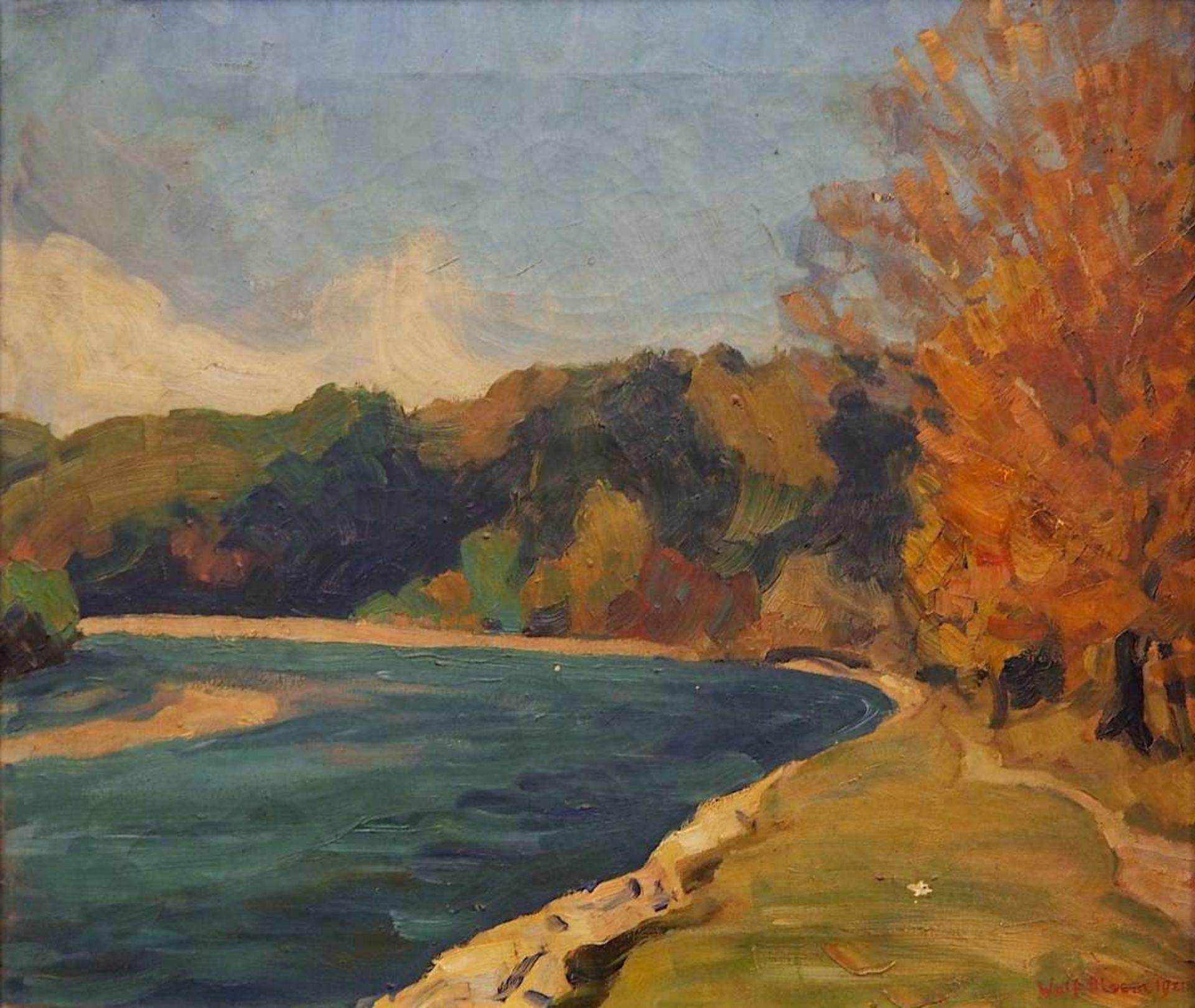 """1 Ölgemälde """"Herbstliche Flussbiegung"""" R.u. sign. Wolf BLOEM (wohl 1896-1971) dat. 1"""