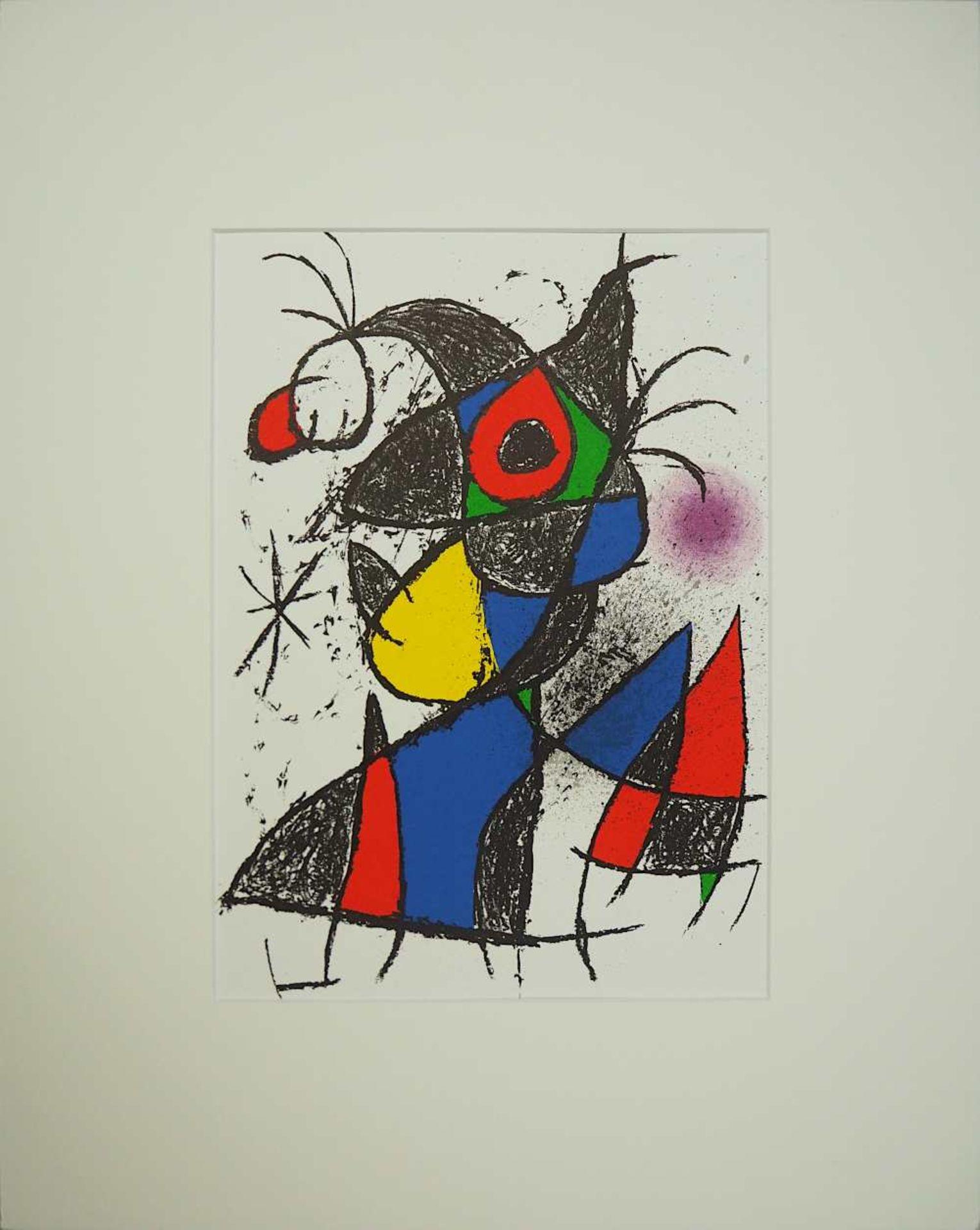 "1 Farblithographie ""Peintures Gouaches Dessins"" rücks. zugeschrieben Joan MÍRO (wohl"