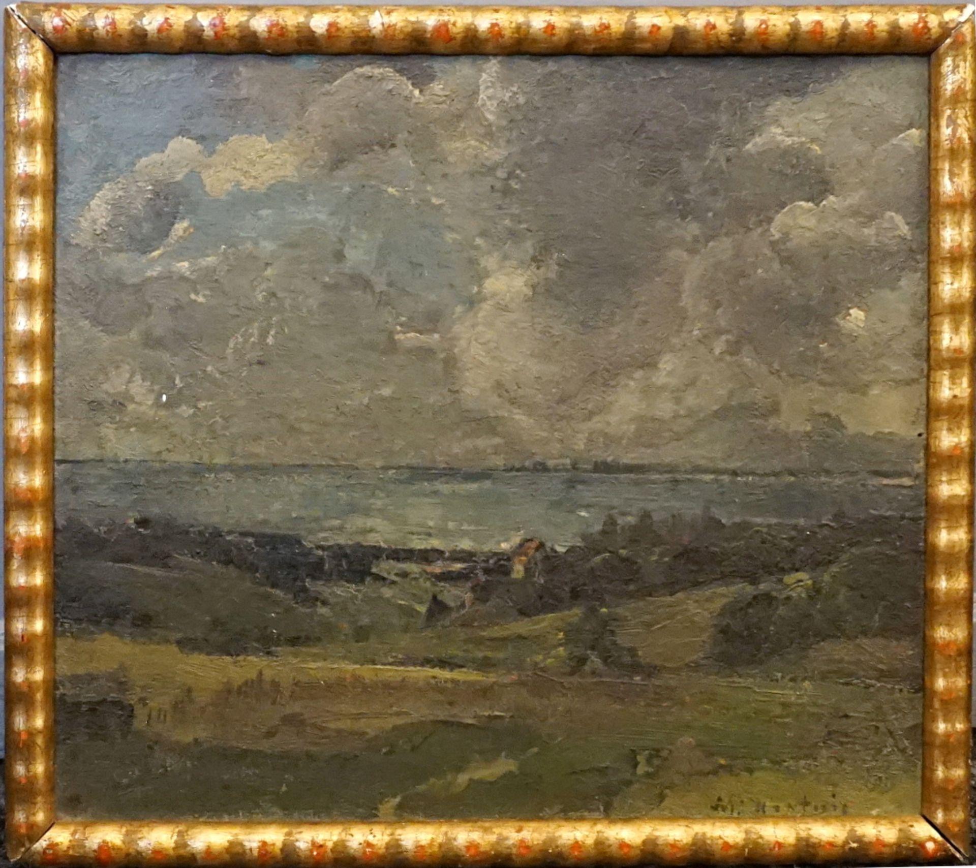 """1 Ölgemälde """"Süddeutsche Seenlandschaft"""" R.u. sign. M. HARDWIG (wohl Max H. 1873-19 - Bild 2 aus 2"""