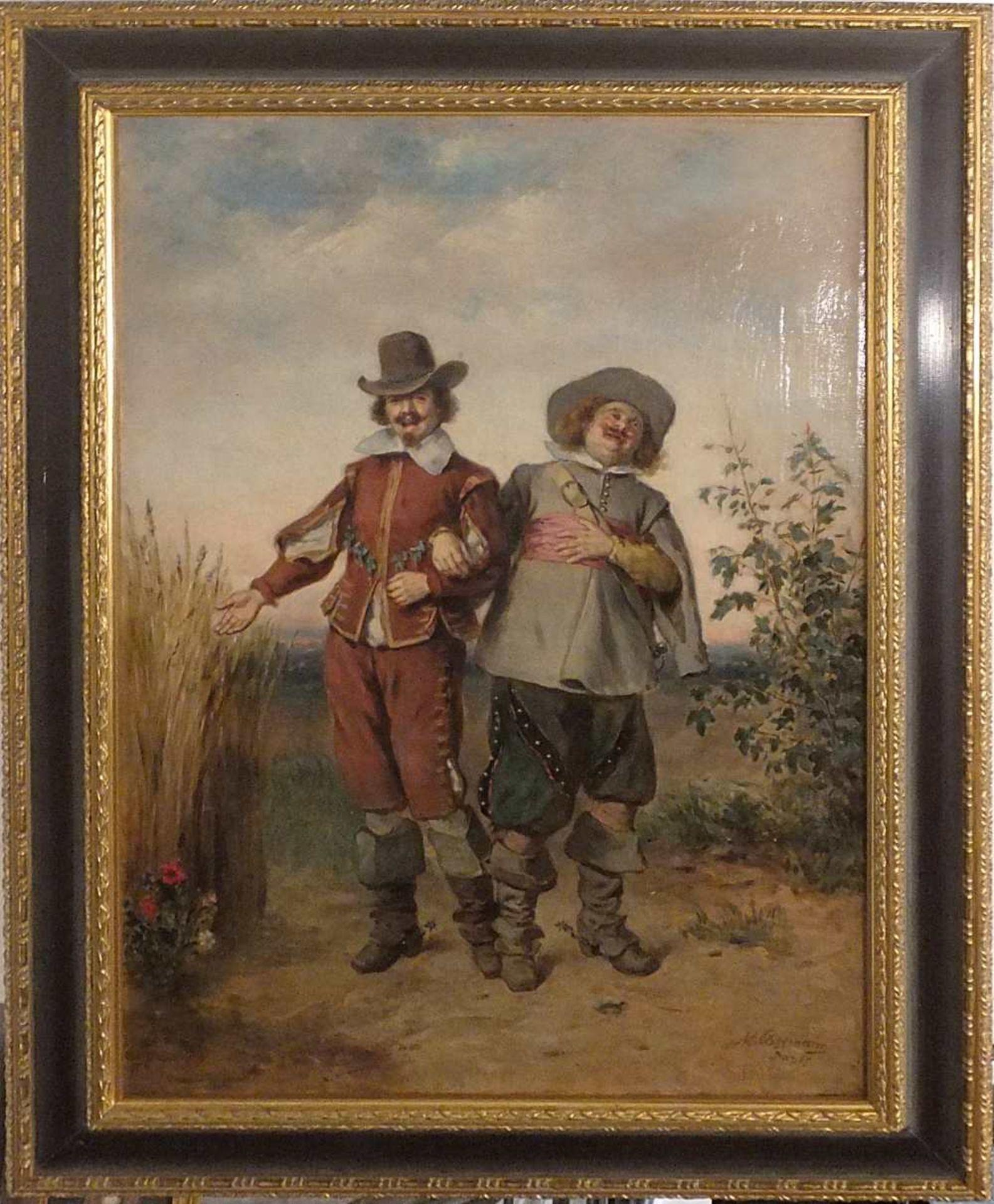 """1 Ölgemälde """"Lustige Gesellen"""", R.u. signiert M. COSSMANN (wohl Hermann Maurice C. 1 - Bild 2 aus 2"""