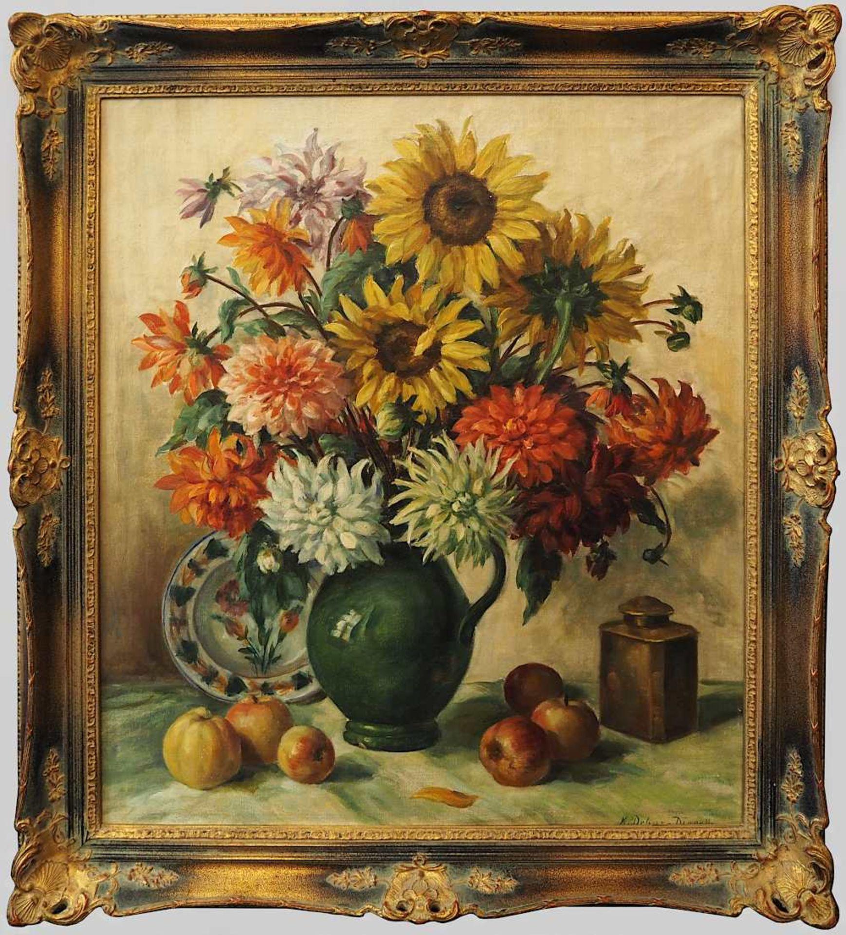 """1 Ölgemälde """"Blumenstillleben mit Sonnenblumen, Fayenceteller und Äpfeln"""" R.u. sign. M. DEBUS - Bild 2 aus 4"""