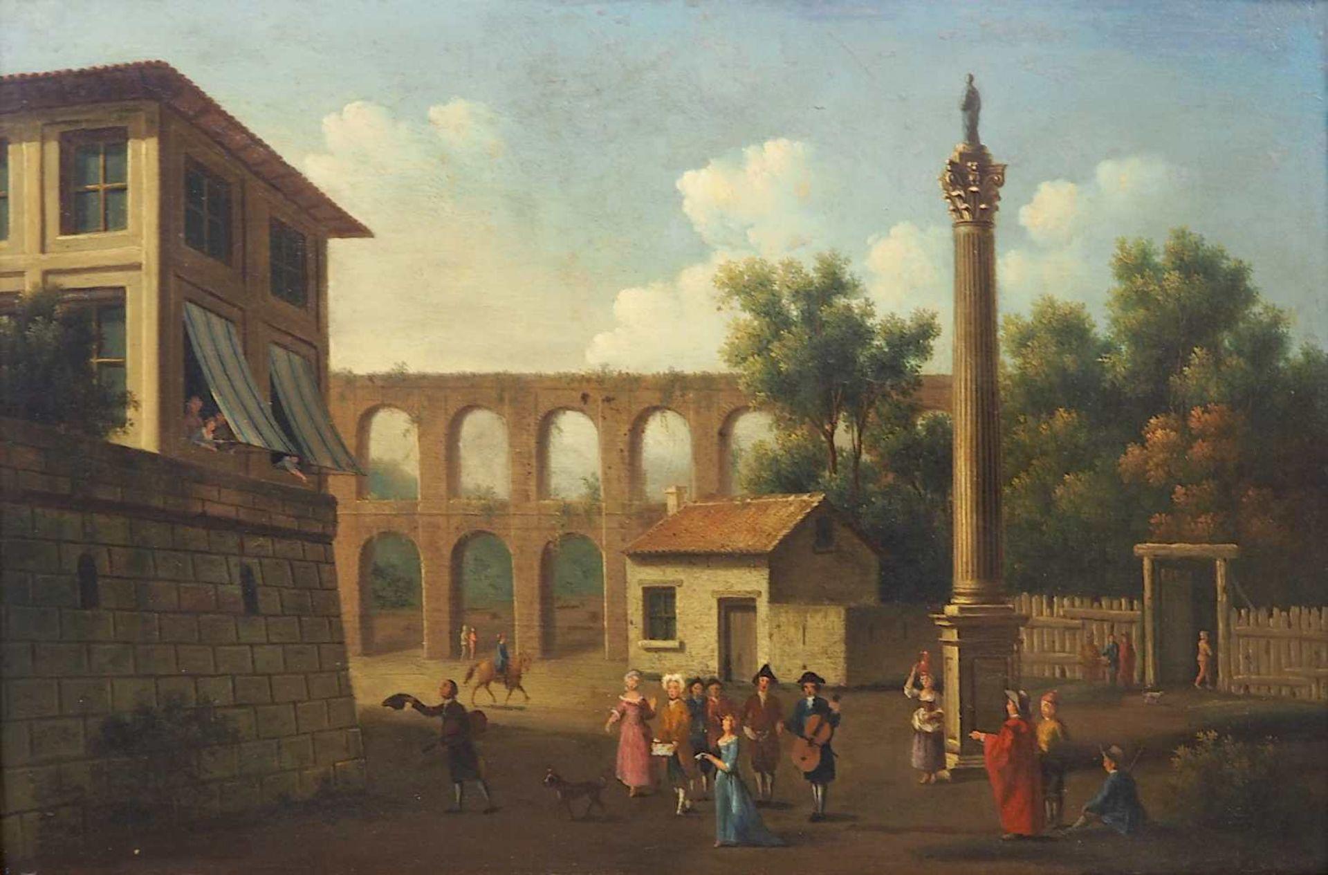 "1 Ölgemälde L.u. sign. P.J. PETIT (wohl Pierre-Joseph P. 1768-1825),""Musikabend im Freien"",</b"