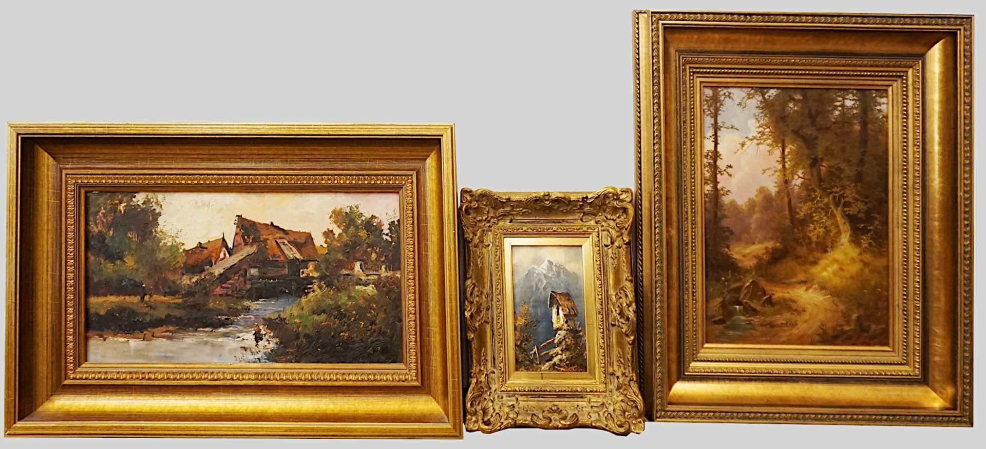"1 Konv. Ölgemälde des 20. Jh., versch. Künstler, z.T. sign. F. RAHM: ""Beschattete A - Bild 4 aus 5"