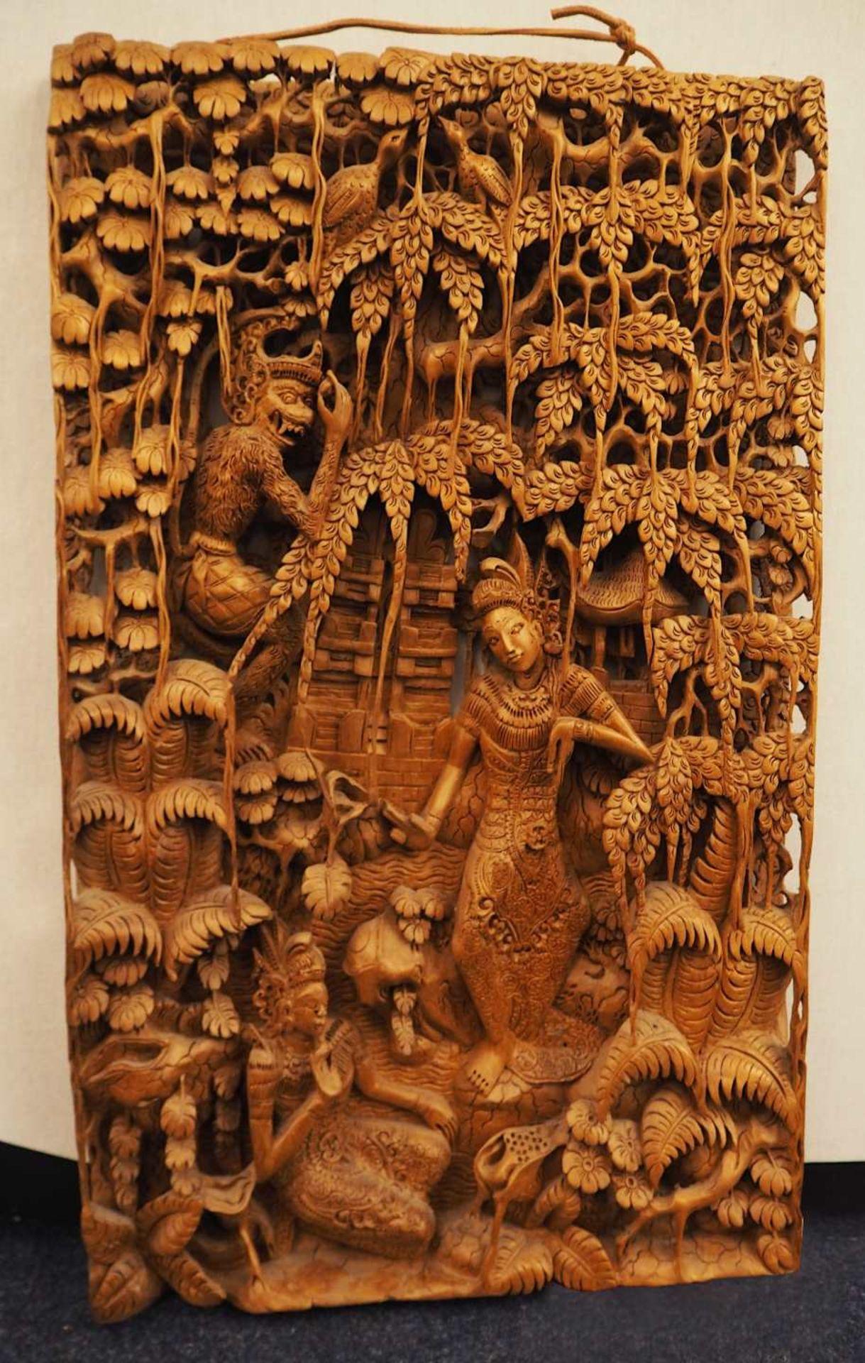 """2 Wandappliken """"Szenen aus dem Leben des Affenkönigs Hanuman"""" wohl Thailand 2. Hälfte 20. Jh.< - Bild 2 aus 6"""