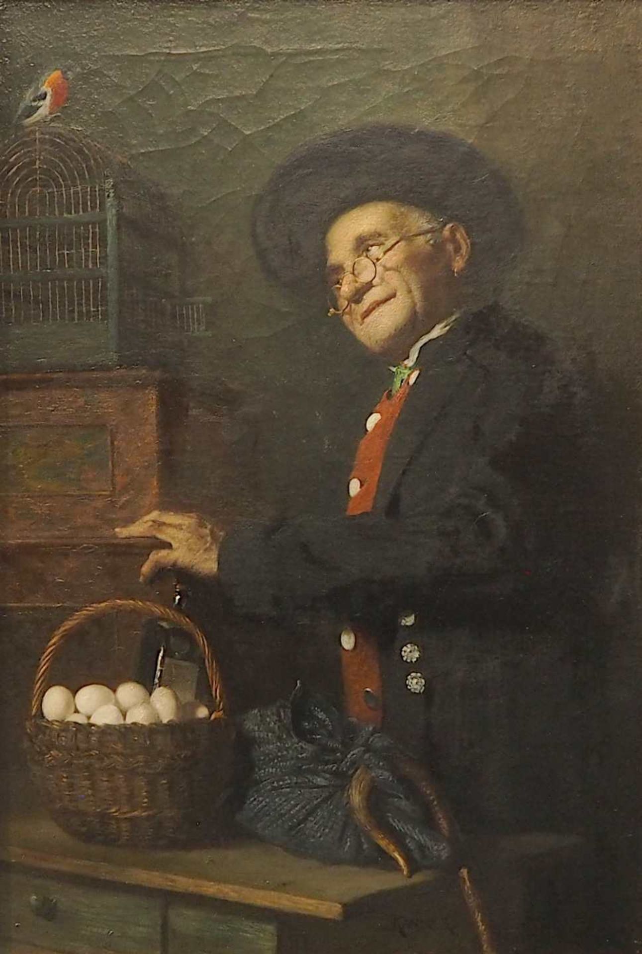 """1 Ölgemälde """"Handwerker mit Eiern und Rotkehlchen"""" Mitte unten sign,. KANDLER (wohl"""