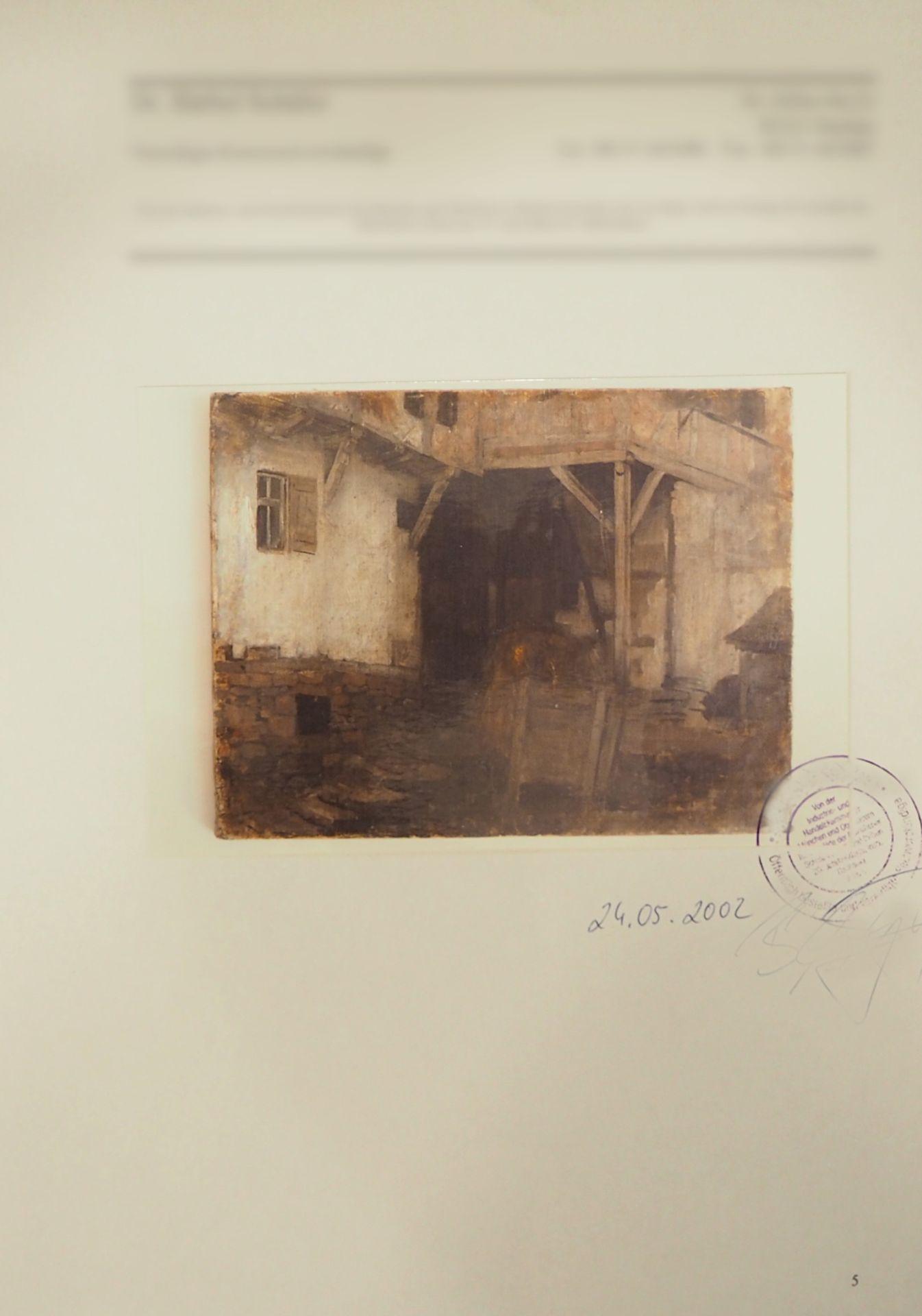 """1 Ölgemälde R.u. sign. J. SPERL (wohl Johann S. 1840-1914), """"Blick in die Scheune"""", - Bild 3 aus 8"""