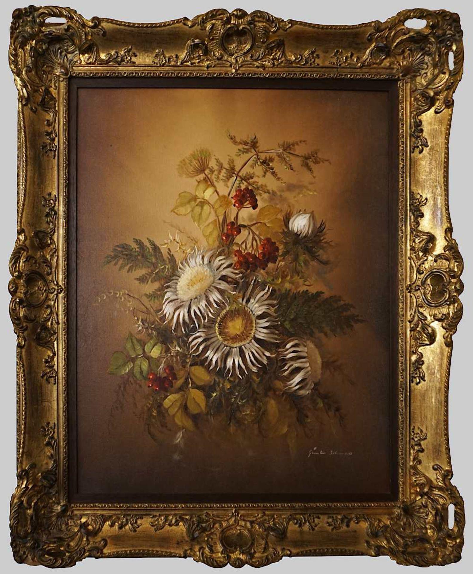 """3 Ölgemälde des 20. Jh., z.T. sign. O. MAY: """"Blumenstillleben"""", """"Herbstblumen mit Si - Bild 3 aus 3"""