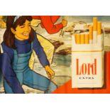 """1 Konv. Reklameplakate der Zigarettenmarke LORD wohl 1960er Jahre z.T. bez. """"Genuß im"""