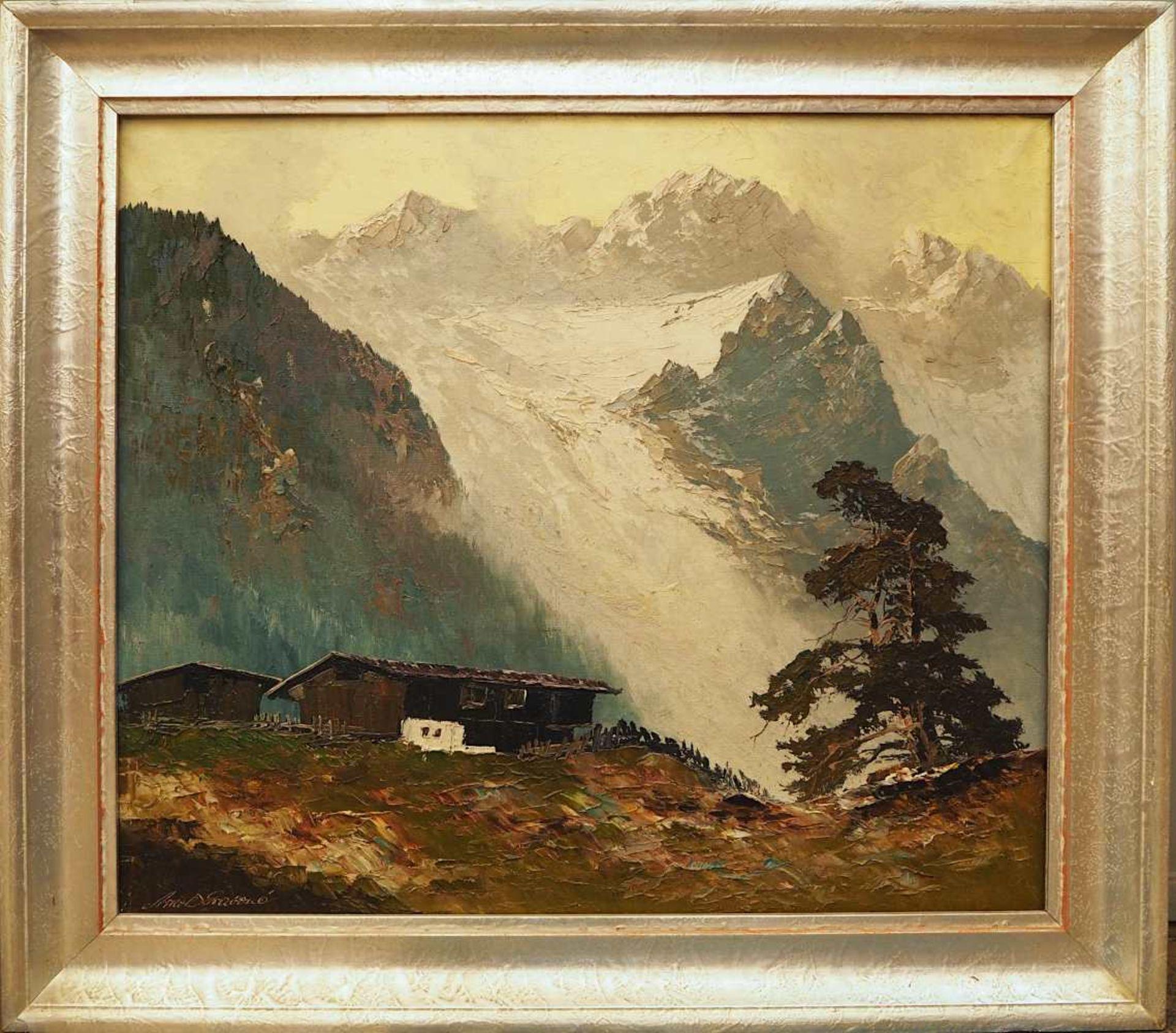 "1 Ölgemälde ""Morgenstimmung im Gebirge"" L.u. sign. ARNOLD-GRABONÉ (wohl Georg A.-G. - Bild 2 aus 4"