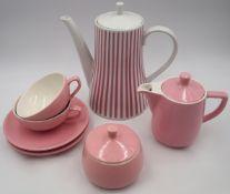 1 Kaffeekern Porzellan MELITTA rosa Fond: 1 Kaffeekanne, Milchkännchen, Zuckerdose, 2