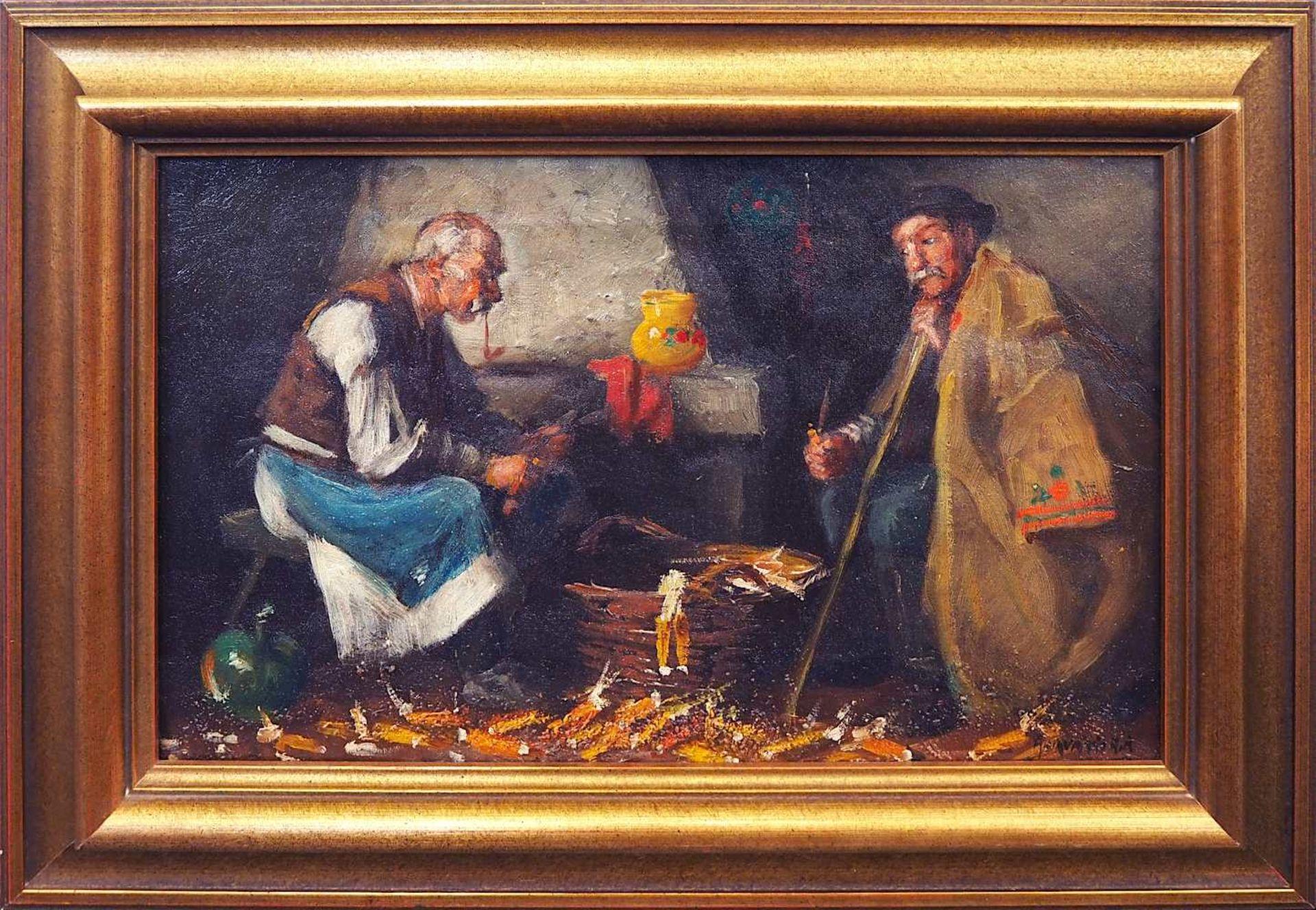 """1 Ölgemälde R.u. sign. HORVATH G. A (wohl Andor G. H. 1876-1966), """"Ungarische Bauern beim Mais"""