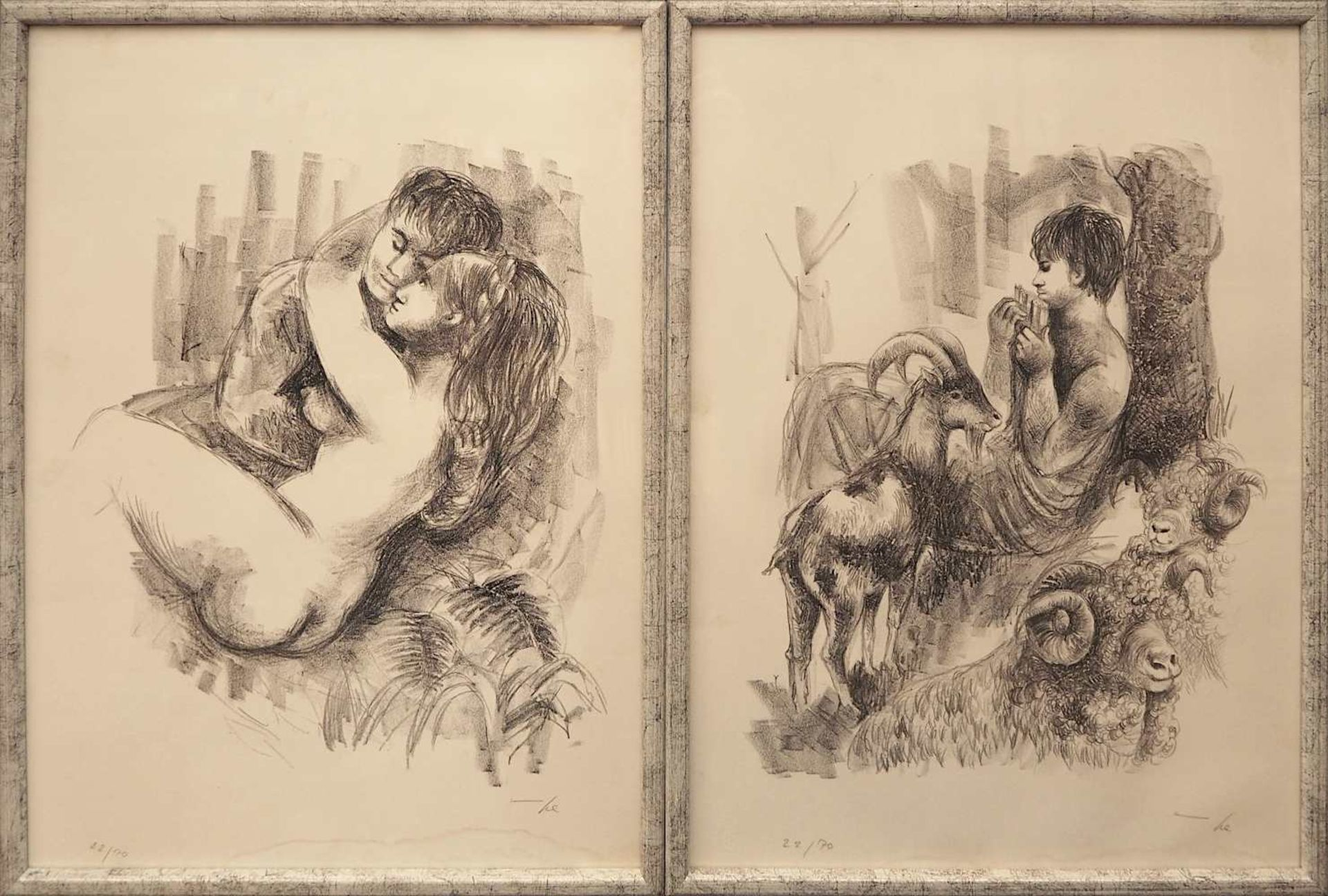 """7 Lithographien zu dem Roman """"Daphnis und Chloé"""" des LONGUS der Künstlerin Hanna NAGEL <br - Bild 3 aus 5"""
