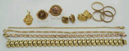 1 Konv. Schmuck GG/RG 8/14ct. u.a. z.T. gefasste Goldmünzen