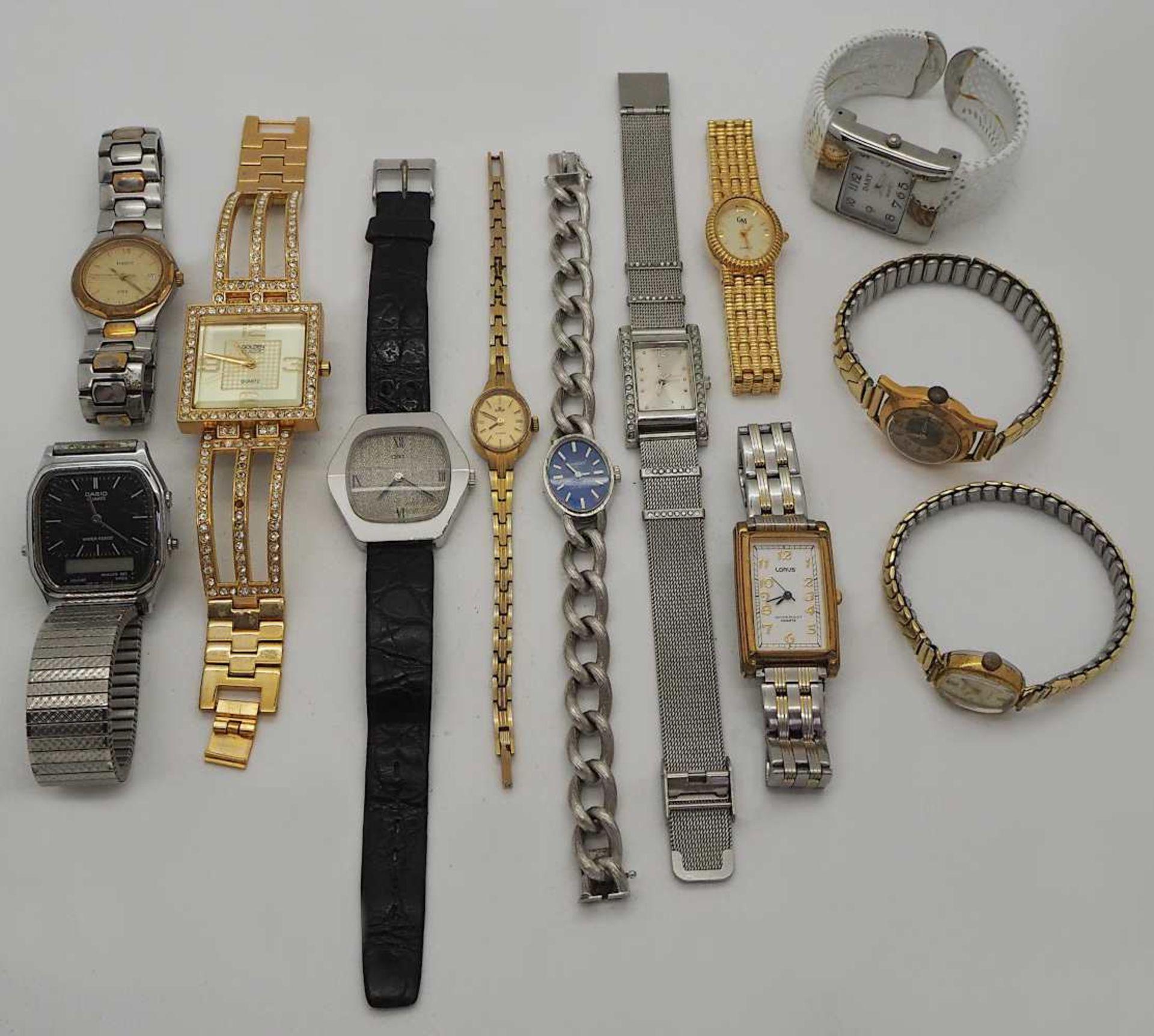 1 Konv. Armbanduhren Metall z.T. m. Lederband versch. Asp./ Gsp. z.T. besch. - Bild 2 aus 2