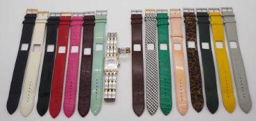 1 Armbanduhr PEQUIGNET Patented System, Edelstahl/GG mit Brill. mit 15 Ersatzlederbändern zum W