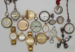 1 Konv. Armband-/ Taschenuhren Metall z.T. verg. z.T. um 1900 in der Schatulle besch.