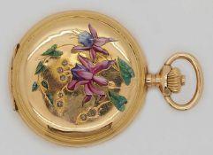 1 Damentaschenuhr LONGINES GG 18ct. um 1900 wohl Jugendstil Emaille verziert Blütendekor Diam.<