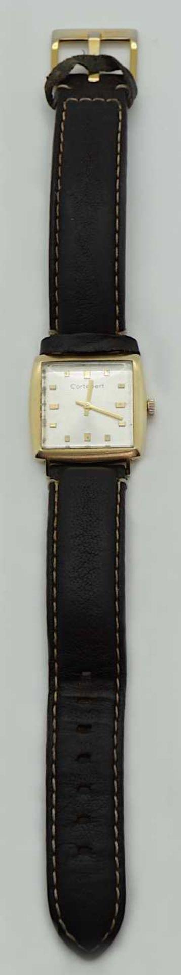 1 Armbanduhr GG CORTÉBERT Gehäuse GG 14ct. Handaufzug Lederband ergänzt je Gsp. - Bild 2 aus 2