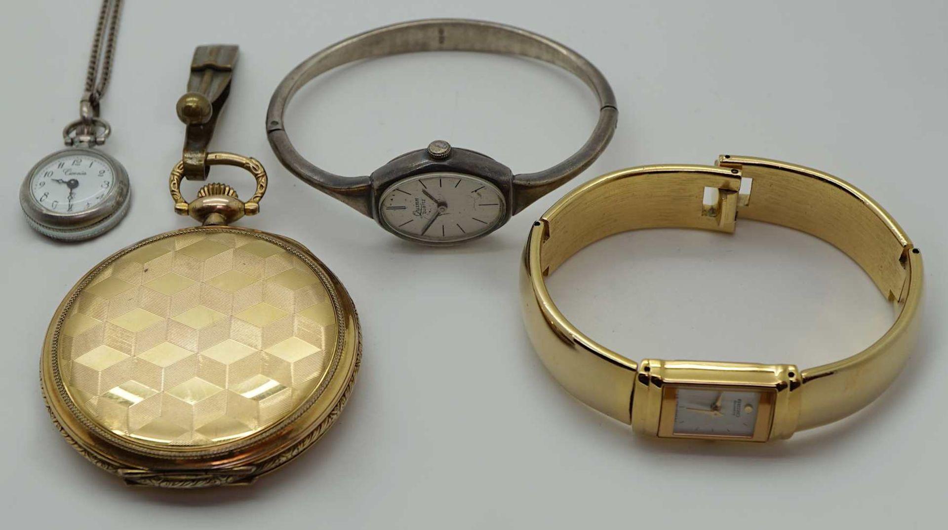 1 Armbanduhr Si. 925 QUINN Quarz sowie 3 Uhren z.T. Metall verg. Gsp.