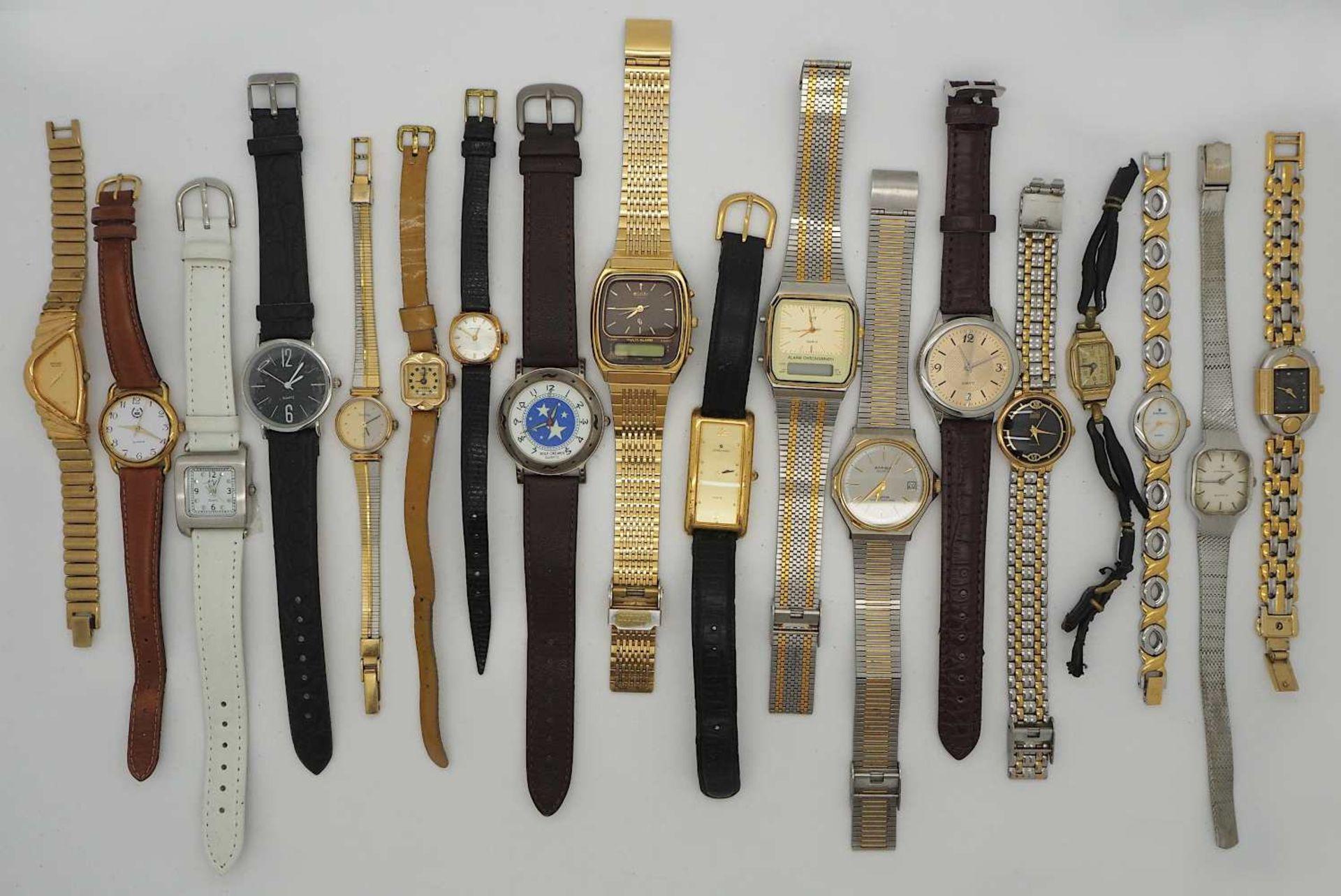 1 Konv. Armbanduhren Metall z.T. m. Lederband versch. Asp./ Gsp. z.T. besch.