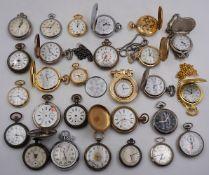 1 Konv. Taschenuhren Metall nztl./ um 1900 z.T. defekt