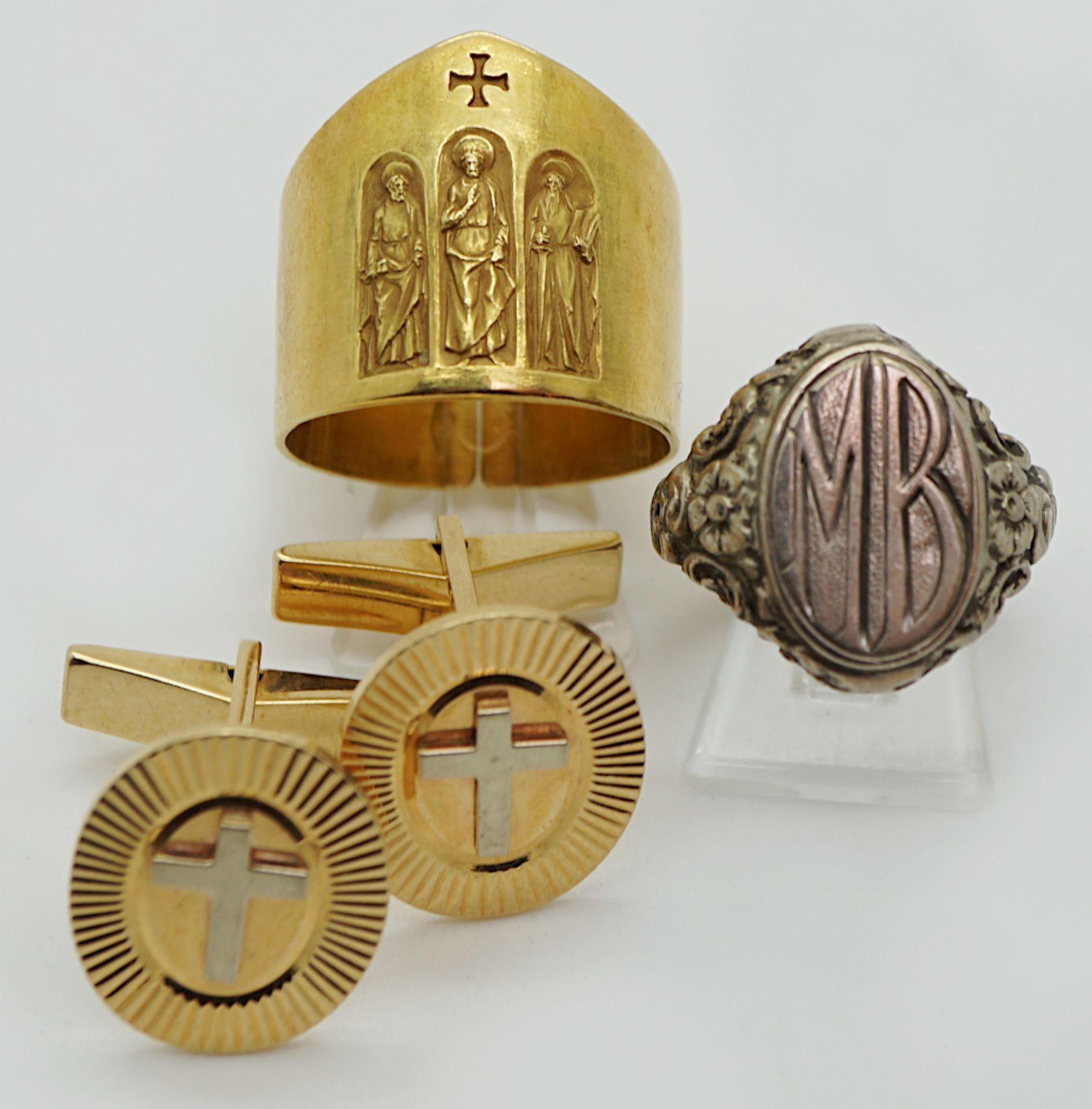 """1 Konv. religiöser Schmuck """"Kreuze"""" u.a. z.T. m. Edelsteinen Altschliffbrill. Mosaikarbeit - Bild 2 aus 2"""