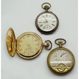 1 Taschenuhr Si. 800 um 1900 sowie 2 Taschenuhren z.T. verg. z.T. um 1900 je Gsp. min. besch.</b