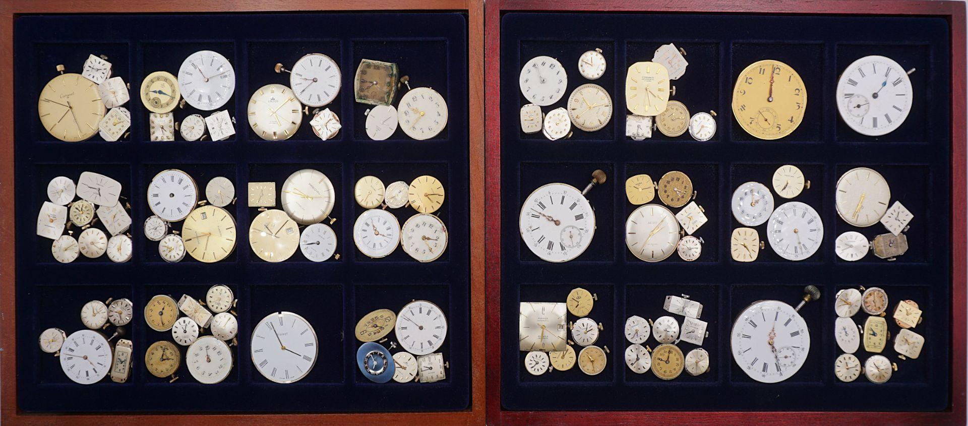 1 Konv. Uhrwerke für Taschen-/ Armbanduhren z.T. um 1900/ 20. Jh. in 4 Schatullen - Bild 2 aus 2