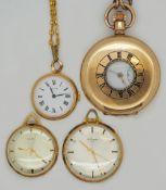 2 Taschenuhren BIFORA / FAVOR Gehäuse jew. GG 14ct. sowie 2 Taschenuhren verg. je m. Uhrkette z