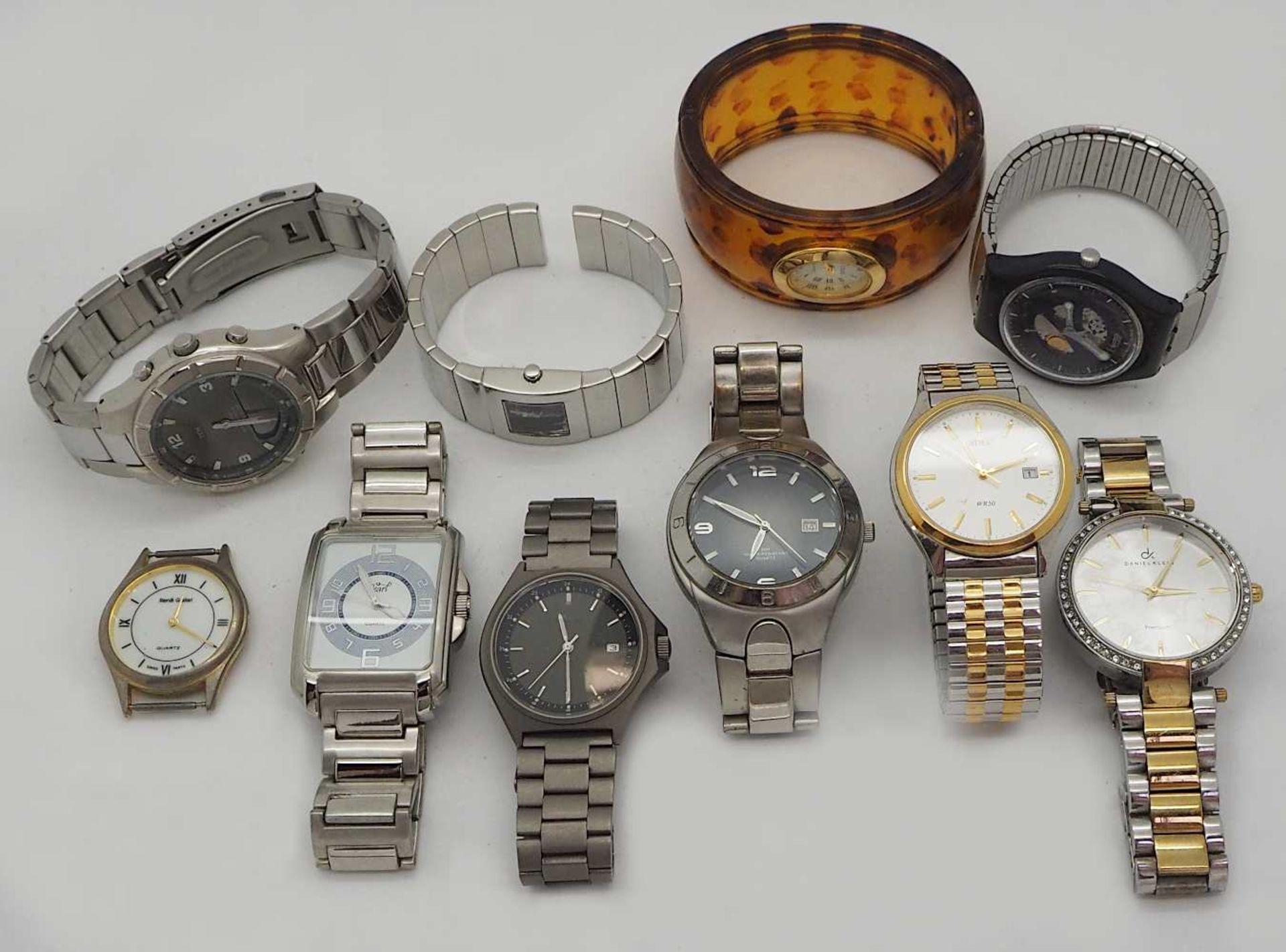 1 Konv. Armbanduhren Metall, Leder u.a. Asp./ Gsp. - Bild 3 aus 3