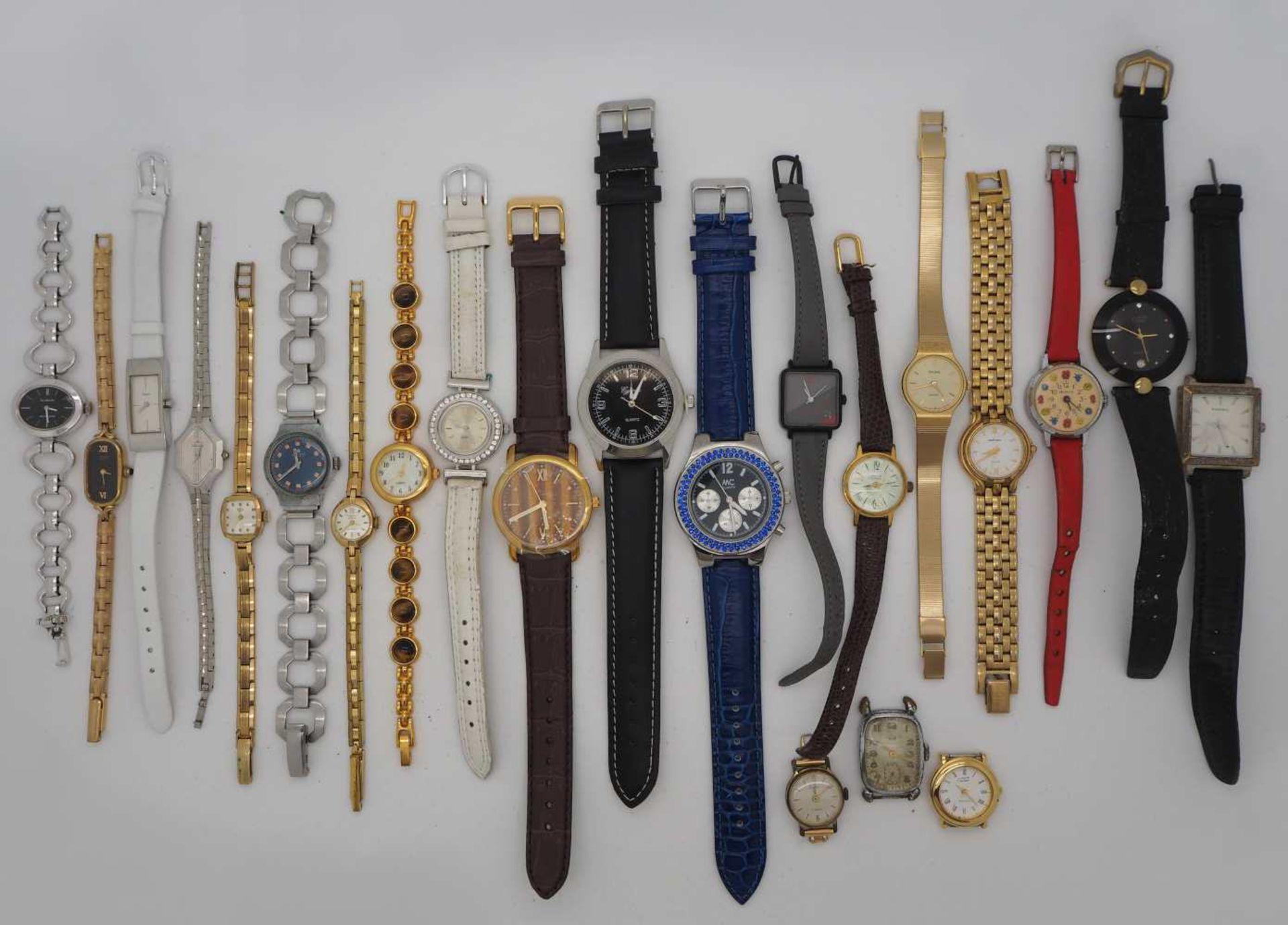 1 Konv. Armbanduhren Metall, Kunststoff, Leder Asp./ Gsp.