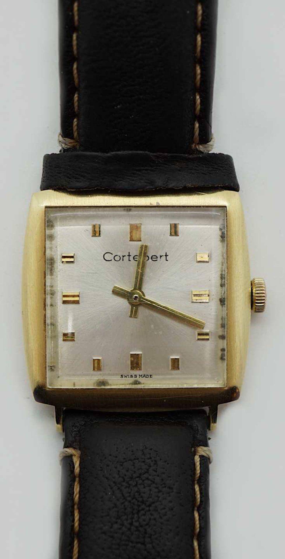 1 Armbanduhr GG CORTÉBERT Gehäuse GG 14ct. Handaufzug Lederband ergänzt je Gsp.
