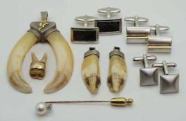 1 Konv. Trachtenschmuck GG/WG 14ct. sowie 1 Nadel m. Perle/Brill. sowie Manschettenknöpfe Mode