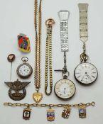 1 Konv. Taschenuhren z.T. wohl Si. um 1900 Uhrkette, Anstecker nztl. sowie 1 Brosche Si. 800 alt