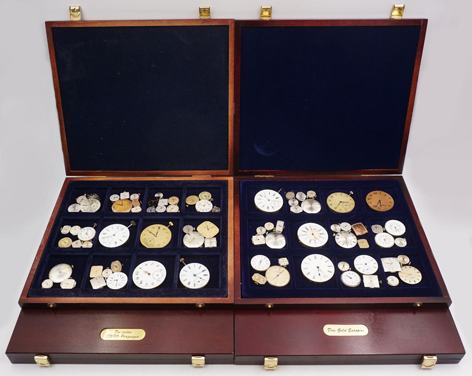 1 Konv. Uhrwerke für Taschen-/ Armbanduhren z.T. um 1900/ 20. Jh. in 4 Schatullen