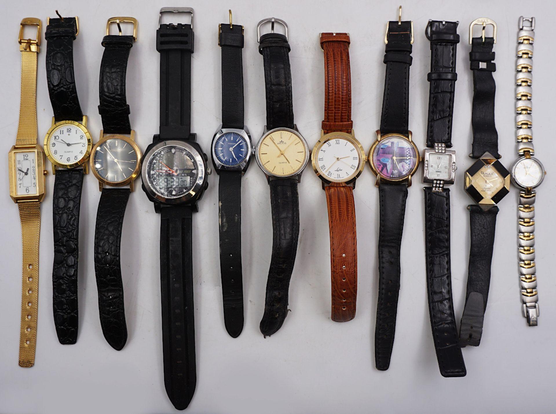 1 Konv. Armbanduhren Metall, Leder u.a. Asp./ Gsp. - Bild 2 aus 3