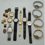 1 Konv. Armbanduhren Edelstahl u.a. z.T. verg. TISSOT JUNGHANS u.a. Modemanschettenknöpfe <