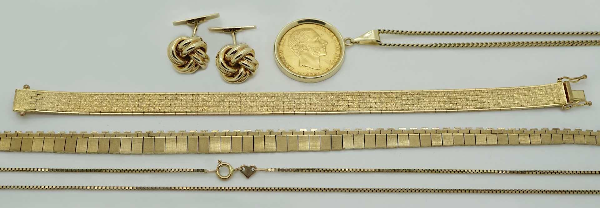 1 Konv. Schmuck GG 8/14ct. gefasste Goldmünze Spanien aus Bischofsnachlass Dr. B. Kur