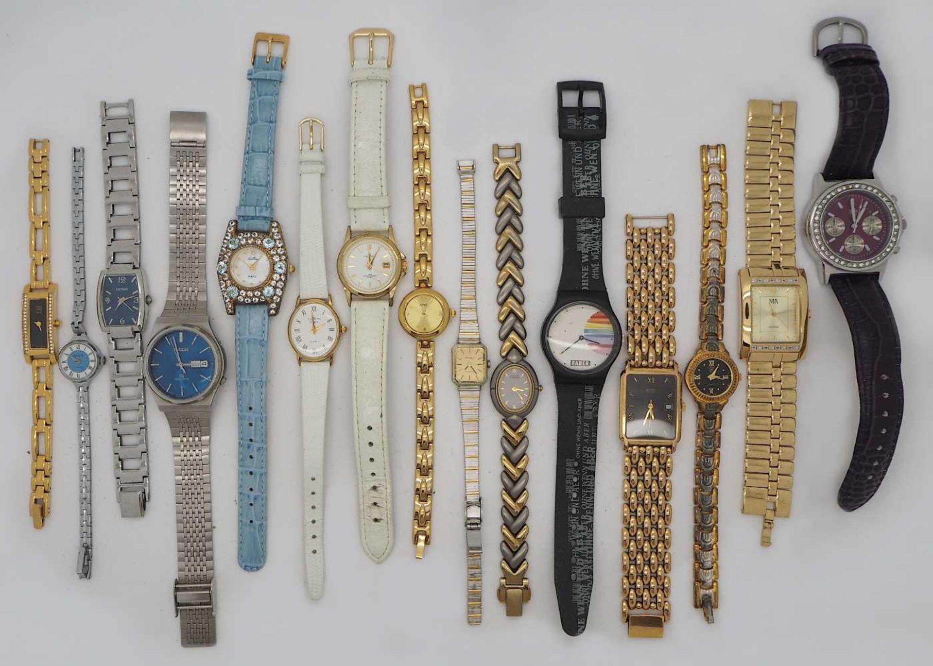 1 Konv. Armbanduhren Metall, Leder u.a. Asp./ Gsp.