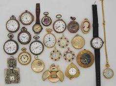 1 Konv. Taschen-/ Hängeuhren z.T. Si. z.T. Metall verg. z.T. um 1900/ nztl. Gsp.