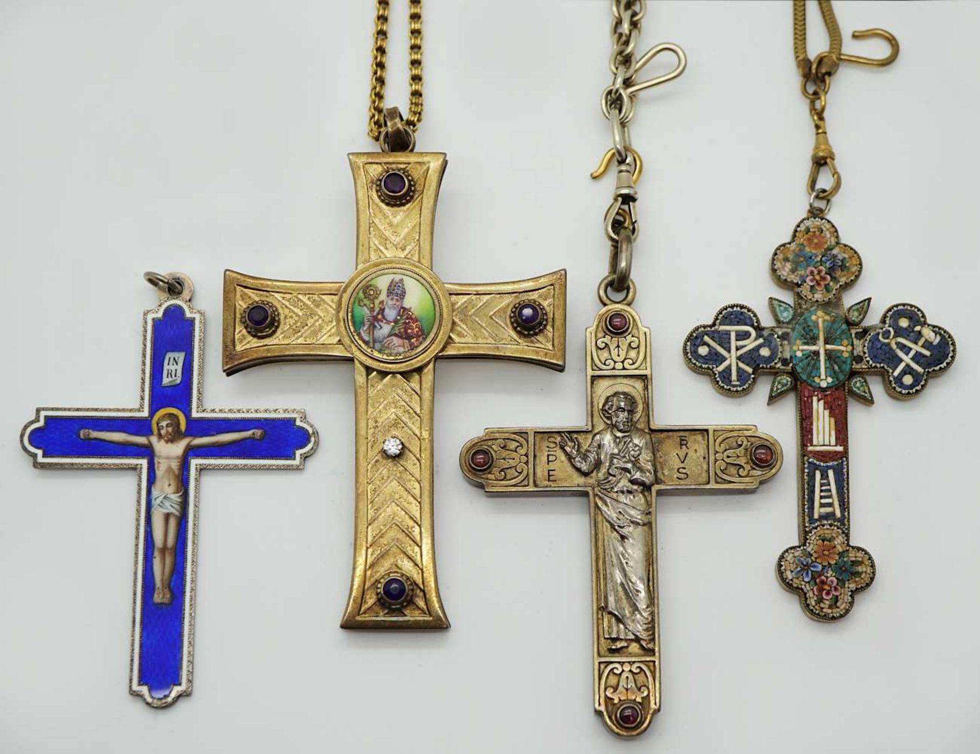 """1 Konv. religiöser Schmuck """"Kreuze"""" u.a. z.T. m. Edelsteinen Altschliffbrill. Mosaikarbeit"""