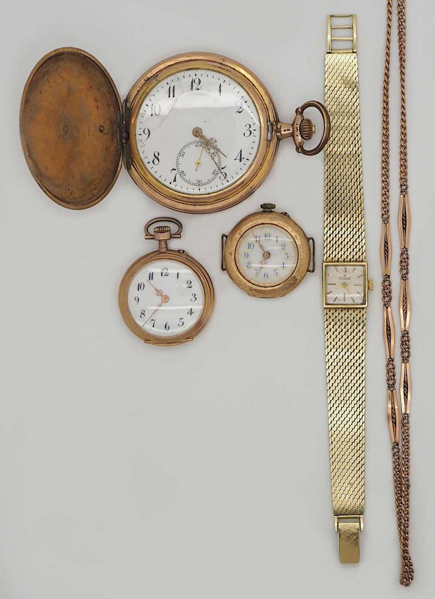 1 Damenarmbanduhr GG 14ct. EXQUISIT, 2 Damenuhren um 1900 je GG 14ct., sowie 2 weitere Uhren, Zu