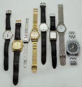 1 Konv. Armbanduhren Metall z.T. verg. versch. Gsp. in der Dose